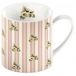 Porcelánový hrnek Pink Stripe Cottage Flower 8*9cm MG2472